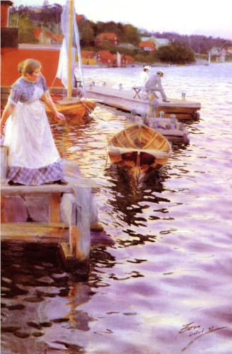 Anders Zorn, Lappings of the Waves, 1887, watercolor