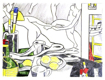 Roy Lichtenstein, Artist's Studio—the Dance (sketch), 1974, colored pencils and graphite on paper