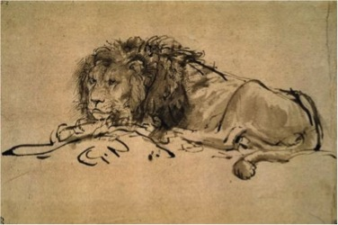 Rembrandt van Rijn, Lion Resting, 1650, ink on paper