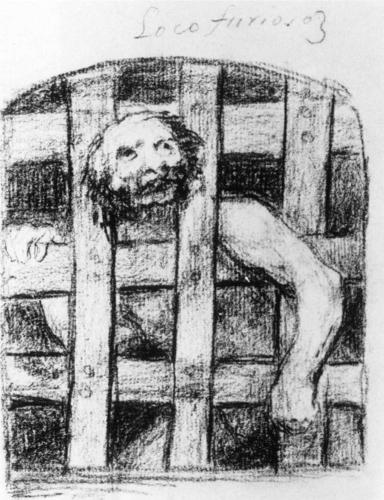 Francisco Goya, Lunatic Behind Bars, 1824, chalk on paper