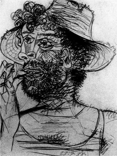 Pablo Picasso, Man with Ice-Cream Cone, ink on paper, 1938