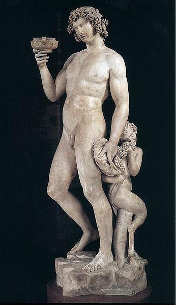 """Bacchus, Michelangelo Buonarroti, 1496-1497, marble, 80"""" tall, Museo Nazionale del Bargello, Florence."""