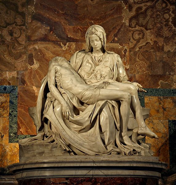 "Michelangelo Buonarroti, Pietà, 1498-1499, marble, 68.5"" x 76.8"", St. Peter's Basilica, Vatican City. Photo by Stanislav Traykov"