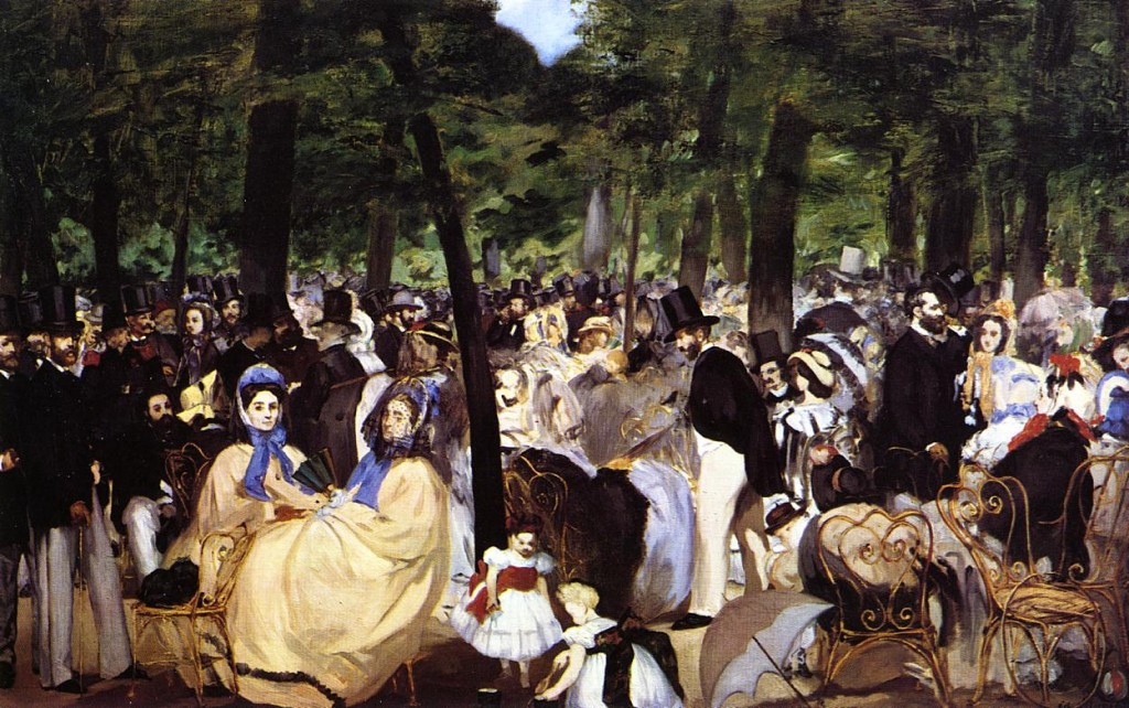 "Edouard Manet, Music in the Tuileries Garden, 1862, oil on canvas, 30"" x 46.5"""