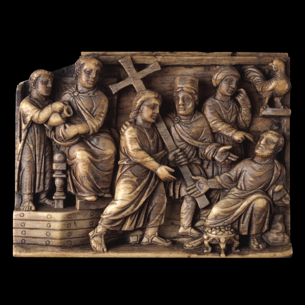 "Panel from an Ivory Casket: Christ Carrying the Cross, ca. 420, ivory, 3"" x 3 7/8"", British Museum, London"