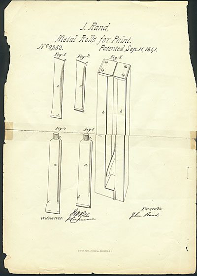 Sketch for metal paint tubes, patented by John Goffe Rand in 1841.