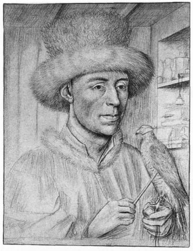 Hans Memling, Portrait of a Man with a Falcon, silverpoint, c. 1447