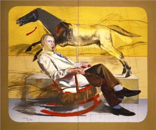 Dimitris Mytaras, Portrait of man Sitting, c. 1979, acrylic on canvas
