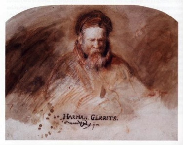 Rembrandt van Rijn, Portrait of the Artist's Father, chalk on paper