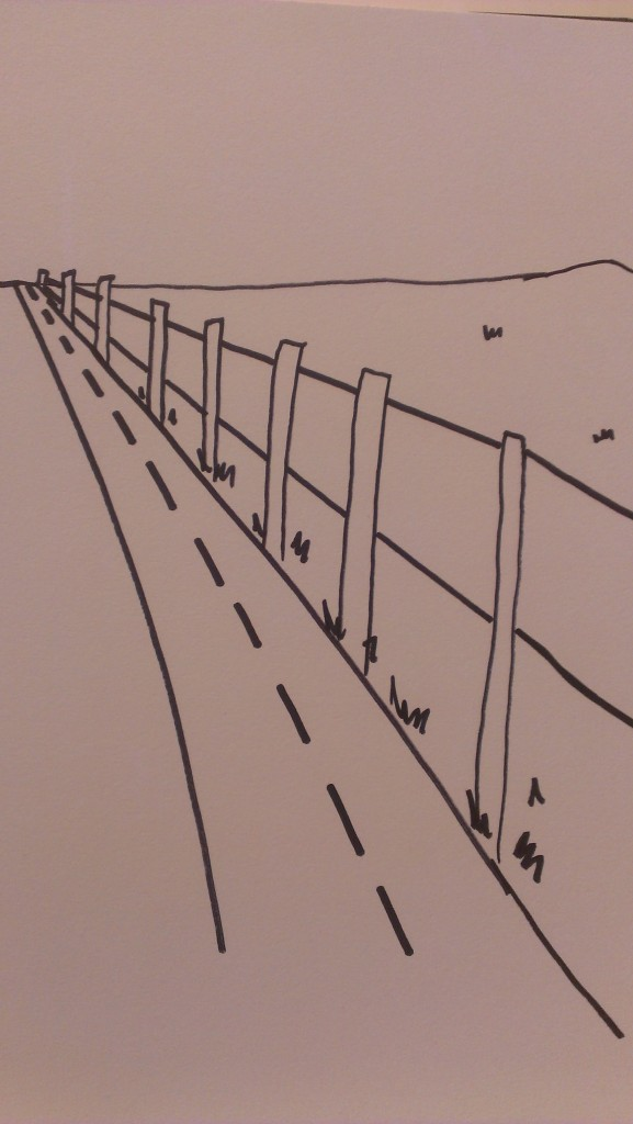 road and fence drawing perspective
