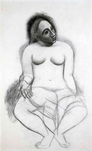 Pablo Picasso, Seated Nude, 1906, charcoal and pencil on paper