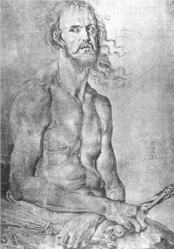 Albrecht Durer, Self-Portrait as the Man of Sorrows, pencil on paper, 1522