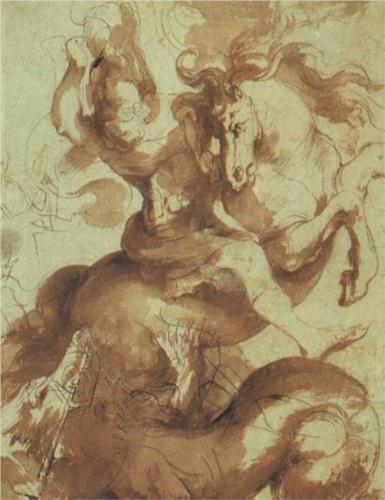 Peter Paul Rubens, St. George Slaying the Dragon, pen and ink on paper
