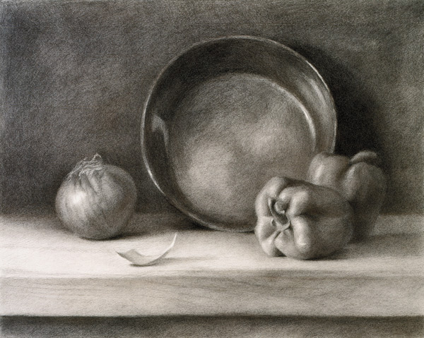 David Dwyer, Kitchen Still Life, charcoal on paper, ca. 2008