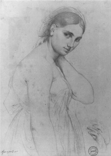 Jean Auguste Domique Ingres, Study for Raphael and the Fornarina, graphite on paper, 1800's (date unknown)