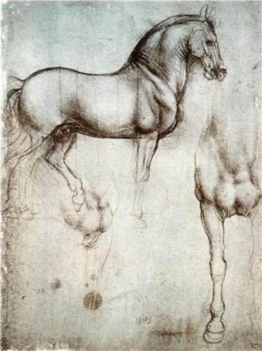 Leonardo da Vinci, Study of Horses, metalpoint on paper, c. 1490