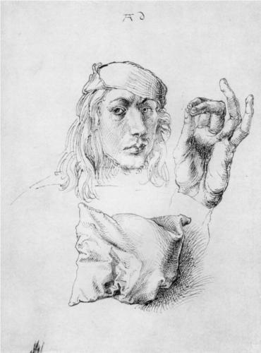 Albrecht Durer, Study Sheet with self-portrait, hand, and cushions, pen and ink on paper, 1493