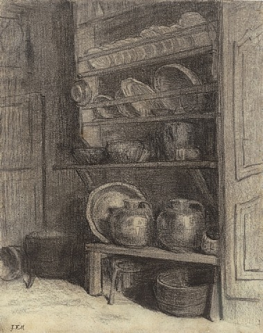 Jean Francois Millet, The Dresser in Gruchy, 1854, charcoal on paper