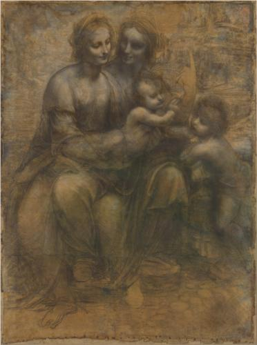 Leonardo da Vinci, The Virgin and Child with Saint Anne and Saint John the Baptist, charcoal and chalk on paper, c. 1499