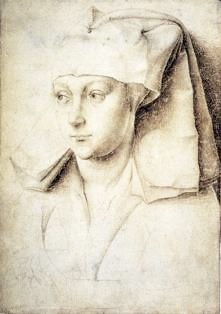 Rogier van der Weyden, Portrait of a Woman, silverpoint on paper with cream colored ground