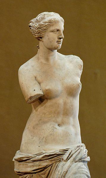"""Venus de Milo (Aphrodite from Melos), Parian marble, ca. 130-100 BCE. 6'7"""" high. Louvre Museum, Paris"""