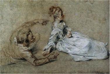 Antoine Watteau, Sitting Couple, c. 1716, chalk on paper