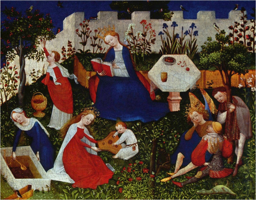Artist Unknown, Frankfurt Paradiesgärtlein (Garden of Paradise), 1410, mixed media on wood