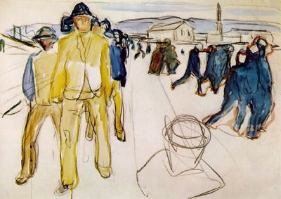 Edvard Munch, Workers on Their Way Home 1, 1918, charcoal, crayon, and watercolor on paper