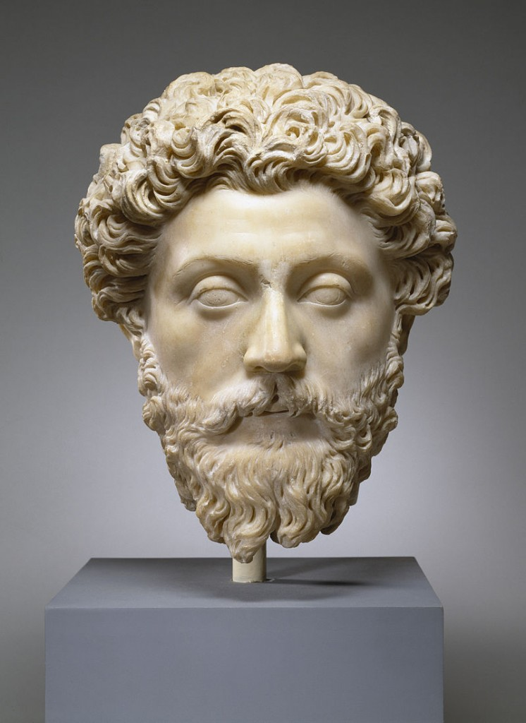 Anonymous (Roman Empire), Portrait of the Emperor Marcus Aurelius, c. 161-180 CE, marble. Walters Art Museum [Public domain, CC BY-SA 3.0 (http://creativecommons.org/licenses/by-sa/3.0) or GFDL (http://www.gnu.org/copyleft/fdl.html)], via Wikimedia Commons
