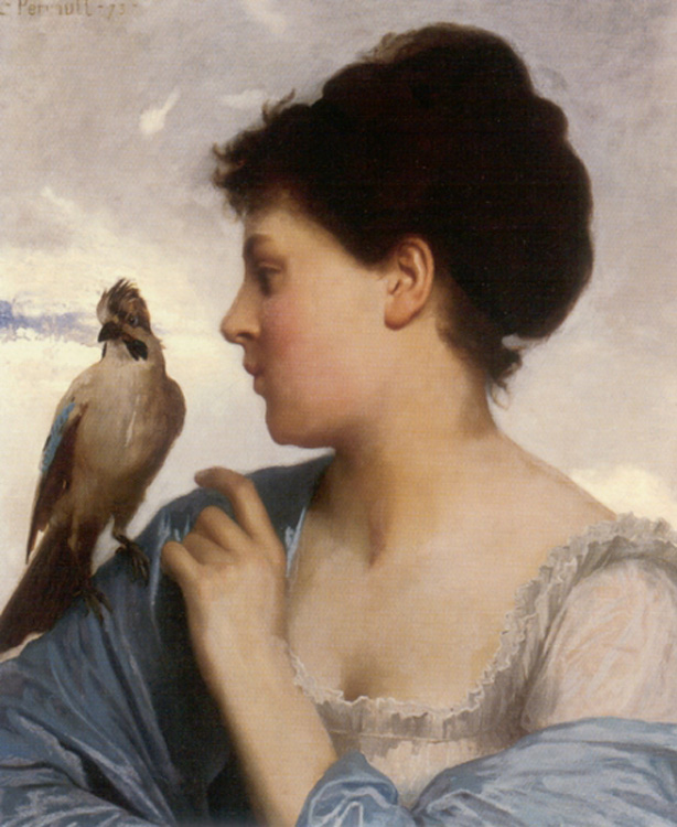 Perrault Leon Jean Basile, The Bird Charmer, 1873, oil on canvas.