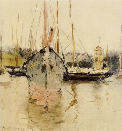 Berthe Morisot, Boats—Entry to the Medina in the Isle of Wight, 1875, watercolor on paper