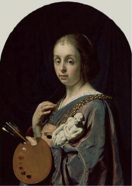 Frans van Mieris, Pictura (An Allegory of Painting), 1661, oil on copper