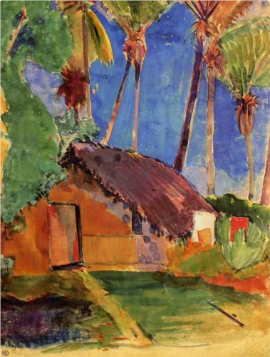 Paul Gauguin, Hut under the Coconut Palms, watercolor on paper