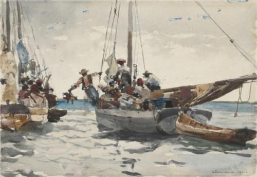 Winslow Homer, Market Scene, Nassau, graphite and watercolor on paper