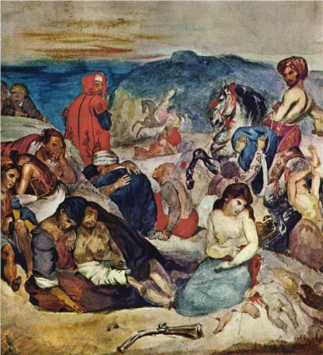 Eugene Delacroix, Massacre of Chios, c. 1823, watercolor