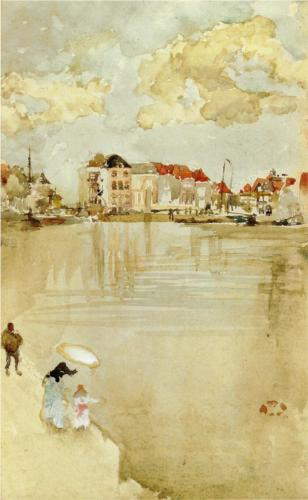 James McNeill Whistler, Note in Gold and Silver—Dordrecht, c. 1884, watercolor on paper