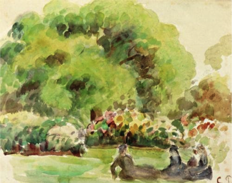 Camille Pissarro, Cagnes Landscape, watercolor on paper