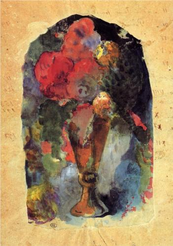 Paul Gauguin, Bouquet of Flowers, watercolor on paper