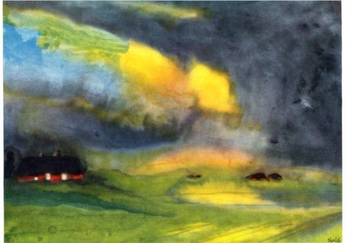 Emil Nolde, Colored Sky above the Marais, c. 1940, watercolor on paper
