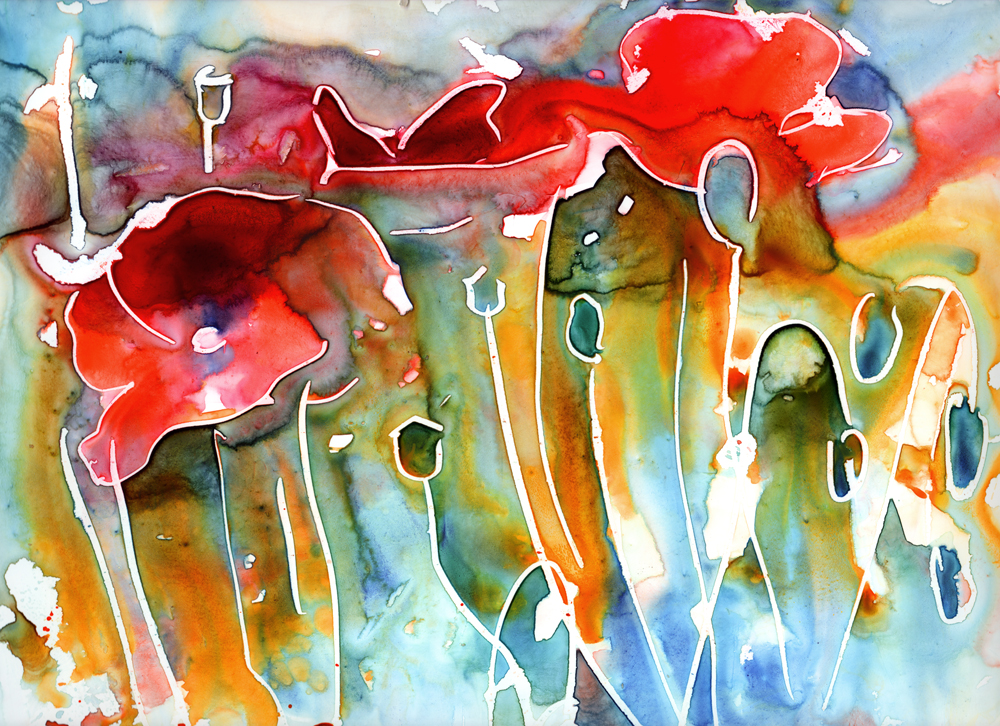 Yevgenia Watts, Poppy Field, 2010, watercolor and crayon on Yupo