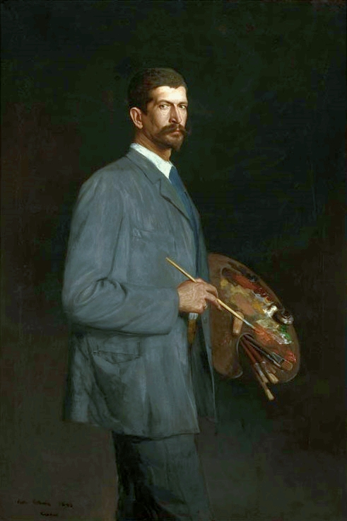 Antoni Piotrowski, Self Portrait with a Palette, 1893, oil on canvas